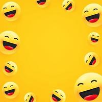 lachender Emoji. Social Media Nachricht Vektor Hintergrund. Kopieren Sie Platz für einen Text