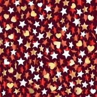 metallische Sterne und Herzen nahtlos backgrond. Vektor Banner