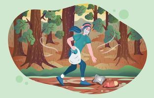 ein Mädchen, das Müll im Wald einsammelt vektor