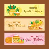 Satz von Gudi Padwa Festival Banner vektor