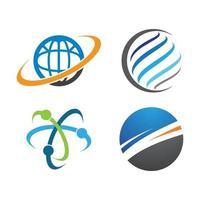 globale Logo-Tech-Vektorikonenillustration vektor
