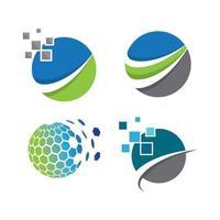globales Logo Tech Vektor Icon Illustration Set