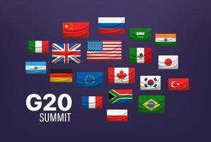 g20 Weltgipfelkonzept. Flaggen der Länder vektor