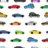 nahtloser Hintergrund verschiedener Stadtautos vektor