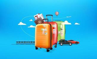 världsresekoncept. resbagage och olika fordon vektor