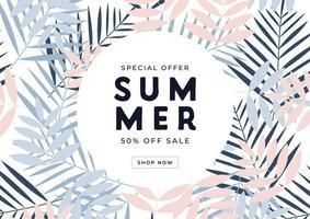 specialerbjudande sommarförsäljning 50 procent rabatt på banner. tropisk presentkort, rabattkupongmall. vektor