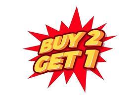 köp 2 få 1 gratis, försäljningsetikett, affischmall, rabatt isolerad klistermärke, vektor.
