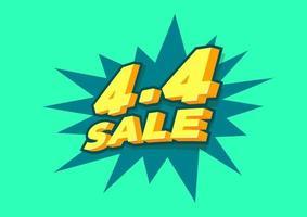 4.4 shoppingdag försäljningsaffisch eller flygbladdesign. 4,4 galna försäljningar online.