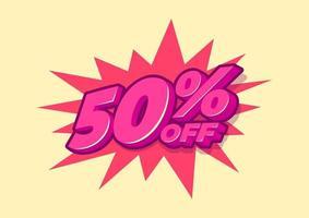 50 Prozent Rabatt auf den Verkaufstag. Verkauf von Sonderangeboten. 50 Prozent Rabattpreis vektor