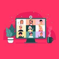 Party von zu Hause aus. Menschen treffen Online-Videokonferenz auf einem Computer in den Weihnachtsferien. Weihnachts-Online-Party. glückliche Freunde, die neues Jahr im Video-Chat feiern. vektor