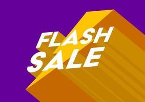 Flash Sale Poster oder Flyer Design. Flash Sale 3D Banner Vorlage. vektor