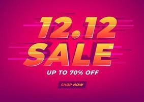 särskild dag 12.12 shoppingdag försäljningsaffisch eller flygbladdesign. 12.12 onlineförsäljning. vektor