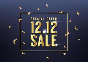 speciell dag 12.12 shoppingdag försäljning med gyllene konfetti affisch eller flygblad design. 12.12 mall för försäljning online. vektor
