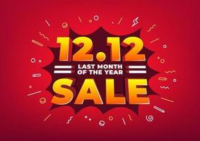 särskild dag 12.12 shoppingdag försäljningsaffisch eller flygbladdesign. 12.12 onlineförsäljning förra månaden på året. vektor