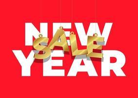 nyårsförsäljningsaffisch eller flygbladdesign. shopping online försäljning. vektor