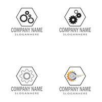 Getriebe Logo Vorlage Vektor Icon Illustration Design