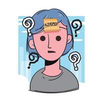ältere Frau mit Alzheimer-Wort in Haftnotiz auf dem Kopf. Alzheimer-Konzept. vektor