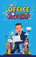 Geschäftsmann sitzen und arbeiten. Bürozeiten-Konzept
