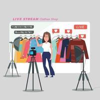 kvinnor som säljer kläder online. sänder livevideo hemma. vektor