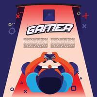 Gamer Boy spielt Konsolenspiel Hintergrund.