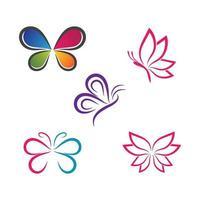 skönhet fjäril logotyp bilder set