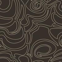nahtloses Vektormuster der abstrakten Formen lokalisiert auf einem braunen dunklen Hintergrund. einfache Textur in einem linearen Stil der beige Pastellfarbe auf einem dunklen Hintergrund. vektor