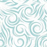 Vektor nahtloses Muster der grünen Spiralen von Linien und Ecken auf einem weißen Hintergrund. Textur von fließenden Formen und Linien von Wellen des Meeres.