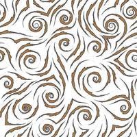 stock nahtloses Vektormuster von braunen fließenden Linien mit zerlumpten Kanten mit schwarzem Strich lokalisiert auf einem weißen Hintergrund