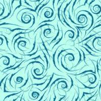 stock nahtloses Vektormuster von blauen fließenden Linien mit zerrissenen Kanten auf einem türkisfarbenen Hintergrund.