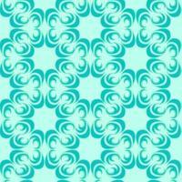 nahtloses Vektormuster von floralen und abstrakten Elementen der türkisfarbenen Farbe einer runden Form auf einem Meereshintergrund.