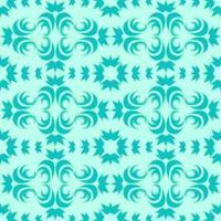 sömlös vektormönster av blommiga och abstrakta element i turkosfärg med en grön stroke på en marin bakgrund. vektor