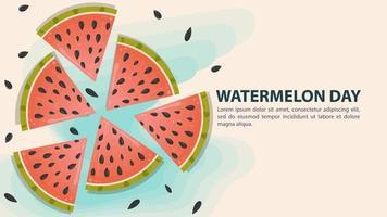 Wassermelone mit in Scheiben geschnittenen Samen. Wassermelonentag Design vektor