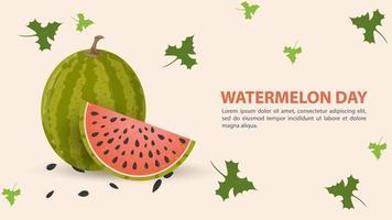 vattenmelon dag design med skiva frukt vektor