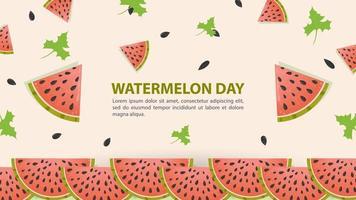 Wassermelonenscheiben für Wassermelonentag Design vektor