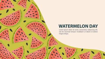 vattenmelon dag design med skivor vektor