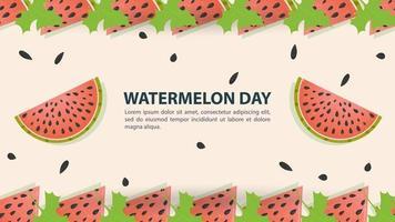 Wassermelonenscheiben Wassermelonentag Design vektor