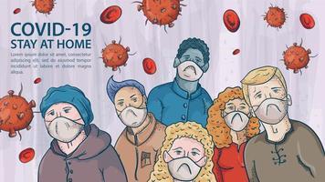 viele Menschen in medizinischen Masken unter den koviden Coronavirus-Molekülen vektor