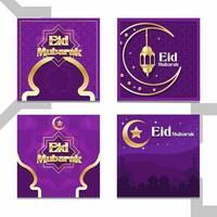 eid mubarak inlägg på sociala medier vektor
