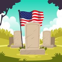 veterankyrkogårdsminnesmärke med amerikansk flagga vektor