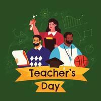 glad lärares dagdesign i platt stil