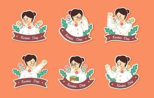 Happy Kartini Day Sticker Set vektor