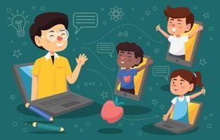 Online-Schulunterricht mit Lehrern und Freunden vektor