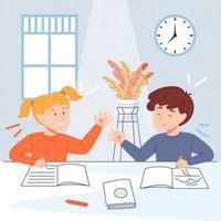 zu Hause mit Geschwistern lernen vektor