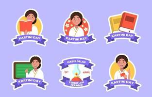 Kartini Day Festaufkleber Sammlung vektor