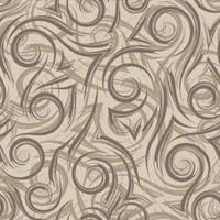 braune glatte Linien Ecken und Spiralen auf einem beigen Hintergrundvektor nahtloses Muster. abstrakte geometrische Texturwelle in Pastellfarben