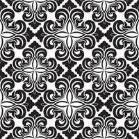 nahtloses Vektordekorationsmuster von schwarzen Blumenelementen in Form einer Raute auf einem weißen Hintergrund. symmetrische Textur zur Dekoration von Stoffen oder Umschlägen.