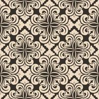 nahtloses Vektordekorationsmuster von beigen Blumenelementen in Form einer Raute auf einem braunen Hintergrund. symmetrische Textur zur Dekoration von Stoffen oder Umschlägen