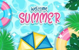 Willkommen Sommer Poster Vektor-Design vektor