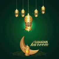 ramadan mubarak eller eid mubarak med gyllene arabisk lykta vektor