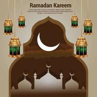 ramadan kareem islamisk festivalbakgrund med arabisk lykta vektor